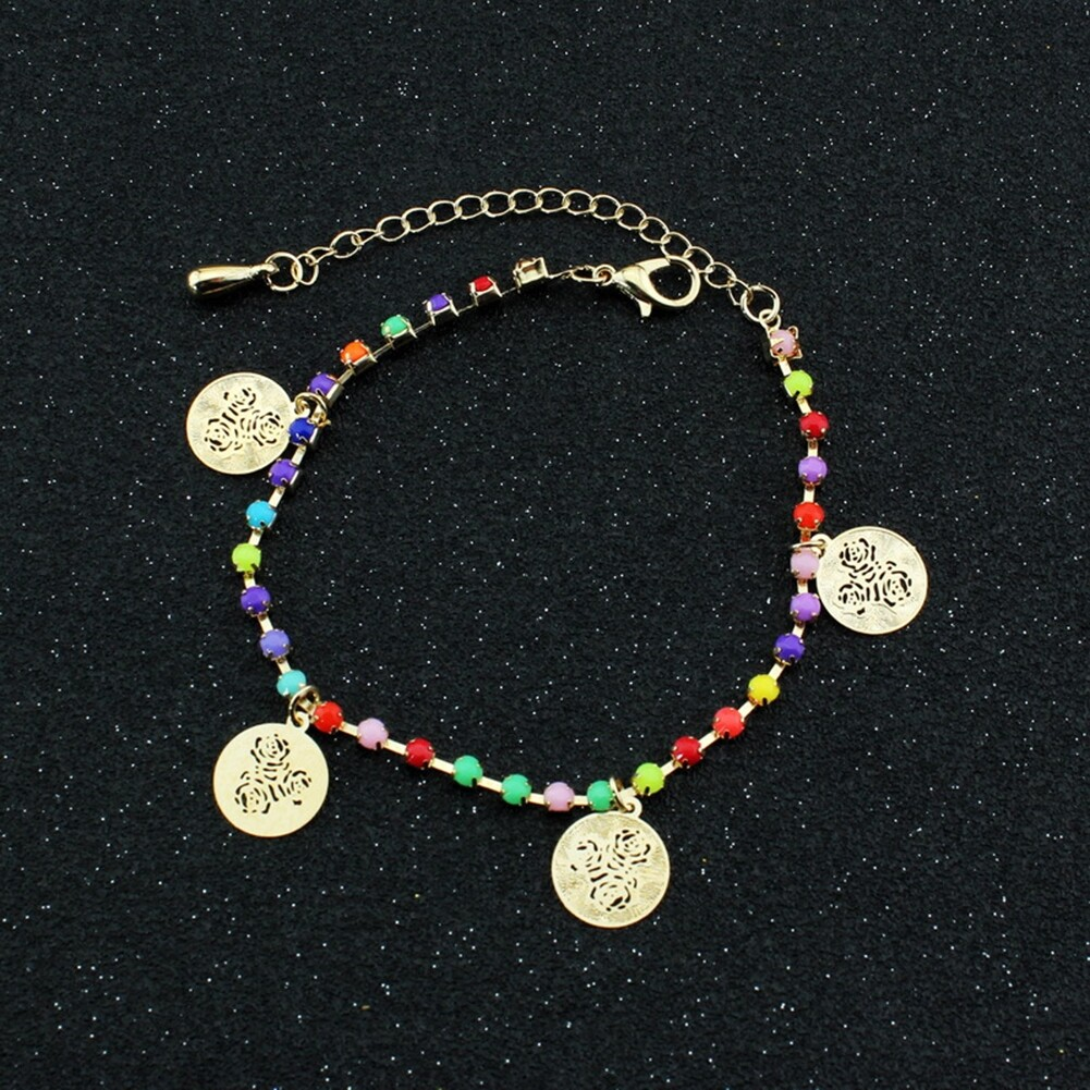 Fatima Coin Anklets With Bell Sandal Beach Chain Gold Plated Stretch BA0050 3