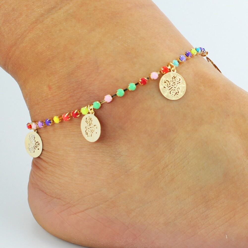 Fatima Coin Anklets With Bell Sandal Beach Chain Gold Plated Stretch BA0050 4