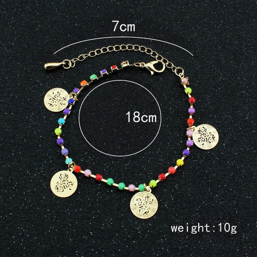 Fatima Coin Anklets With Bell Sandal Beach Chain Gold Plated Stretch BA0050 5