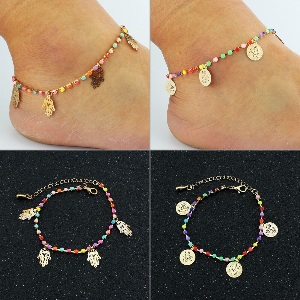 Fatima Coin Anklets With Bell Sandal Beach Chain Gold Plated Stretch BA0050 6