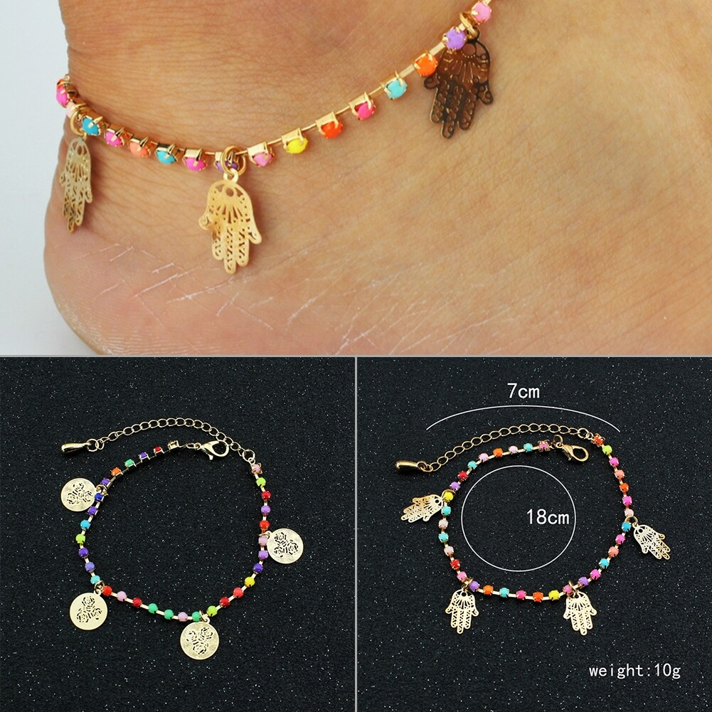 Fatima Coin Anklets With Bell Sandal Beach Chain Gold Plated Stretch BA0050 7