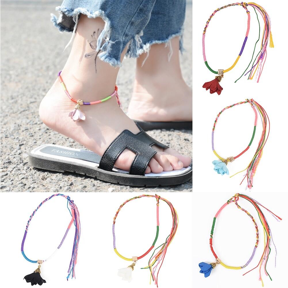 Mens Womens Flower Rope Anklet Ankle Bracelet Barefoot Sandal Beach Foot Chain BA0132 35