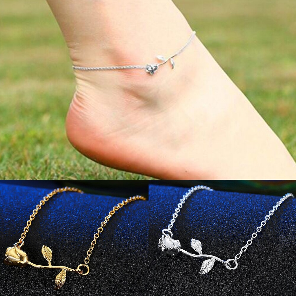 New Charm Women Rose Flower Pendant Anklets Jewelry Gift Foot Chain Beach BA0140 10