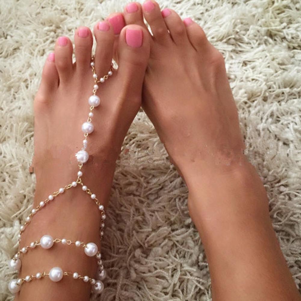 Pearl Barefoot Sandal Anklet Foot Chain Toe Ring Beach Ankle Bracelet for Women BA0141 0