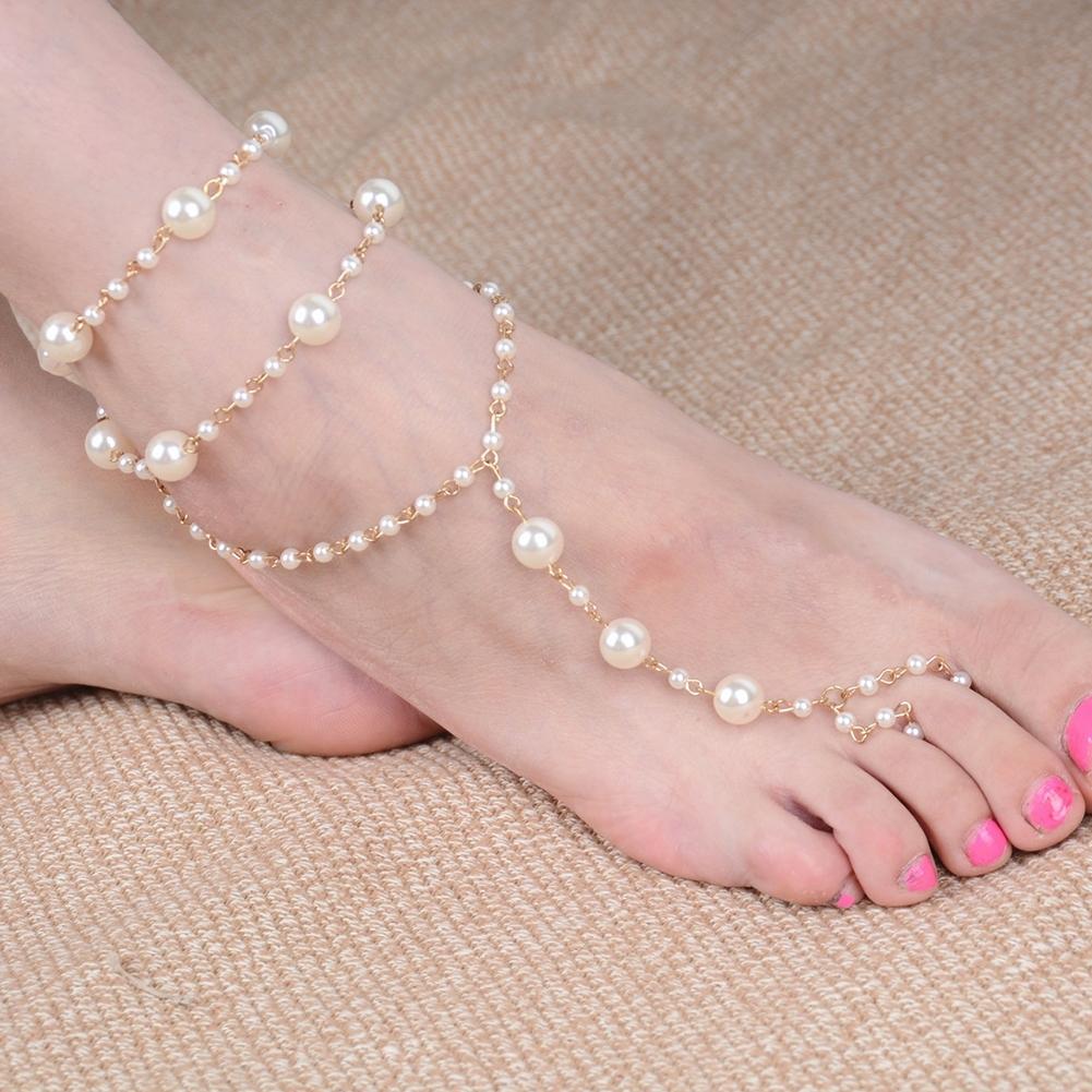 Pearl Barefoot Sandal Anklet Foot Chain Toe Ring Beach Ankle Bracelet for Women BA0141 2