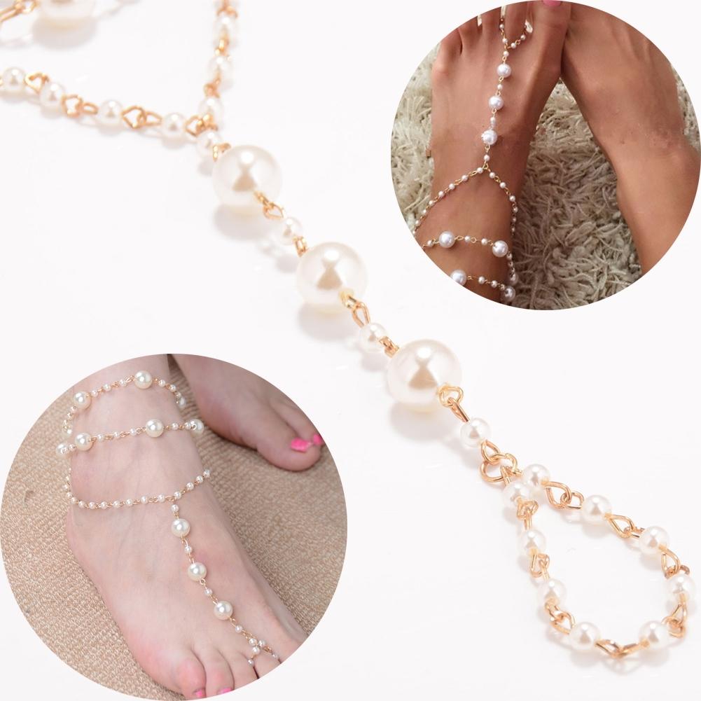 Pearl Barefoot Sandal Anklet Foot Chain Toe Ring Beach Ankle Bracelet for Women BA0141 4