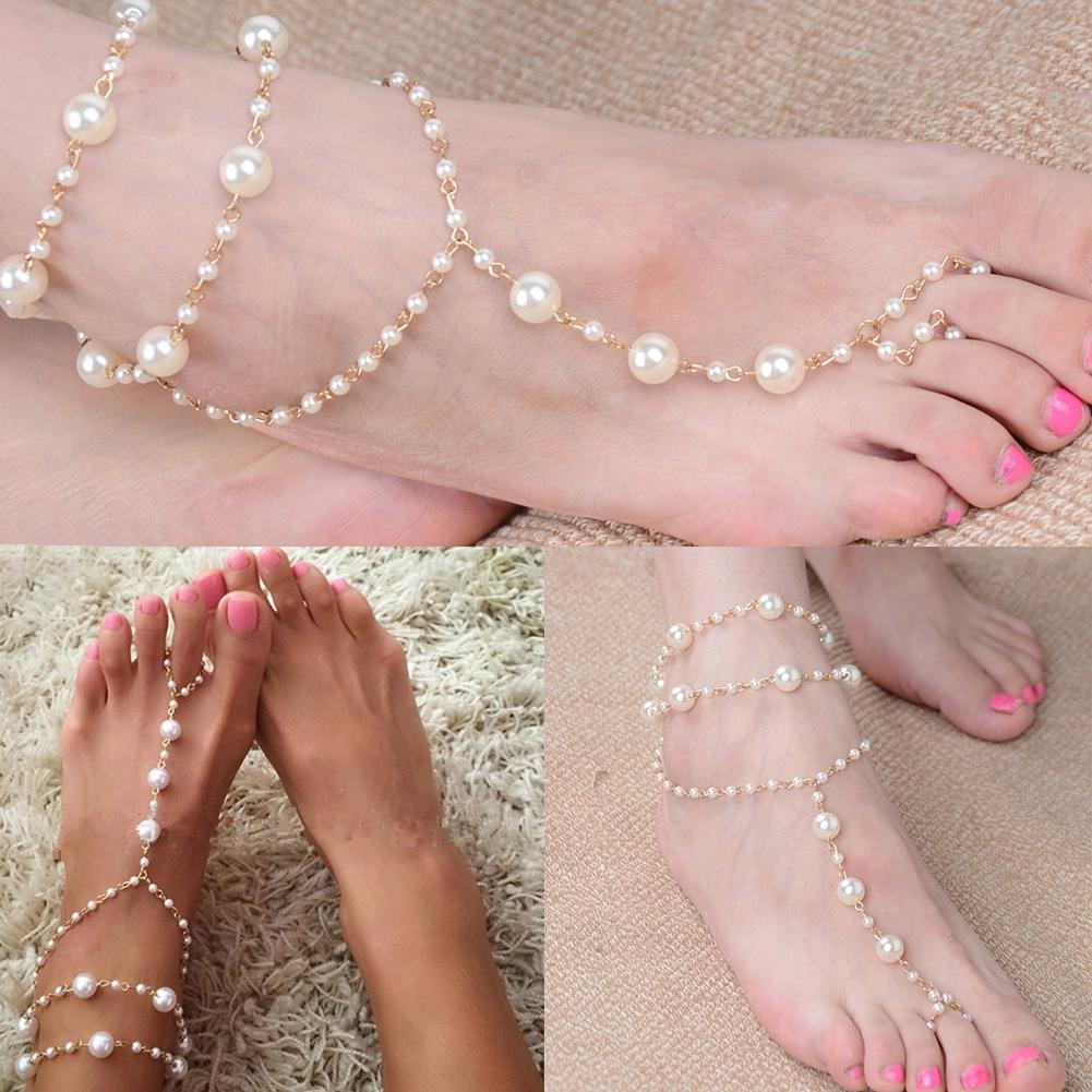 Pearl Barefoot Sandal Anklet Foot Chain Toe Ring Beach Ankle Bracelet for Women BA0141 6