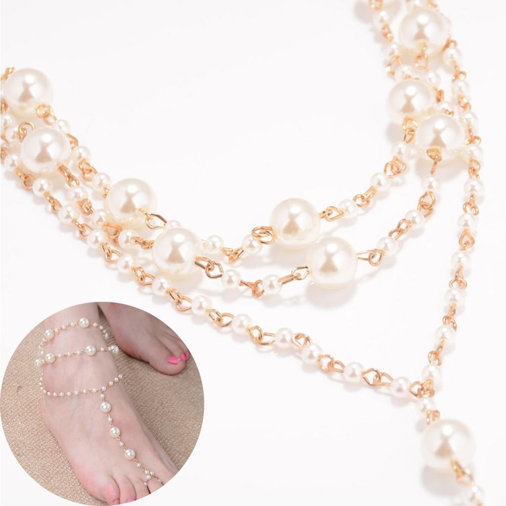 Pearl Barefoot Sandal Anklet Foot Chain Toe Ring Beach Ankle Bracelet for Women BA0141 7