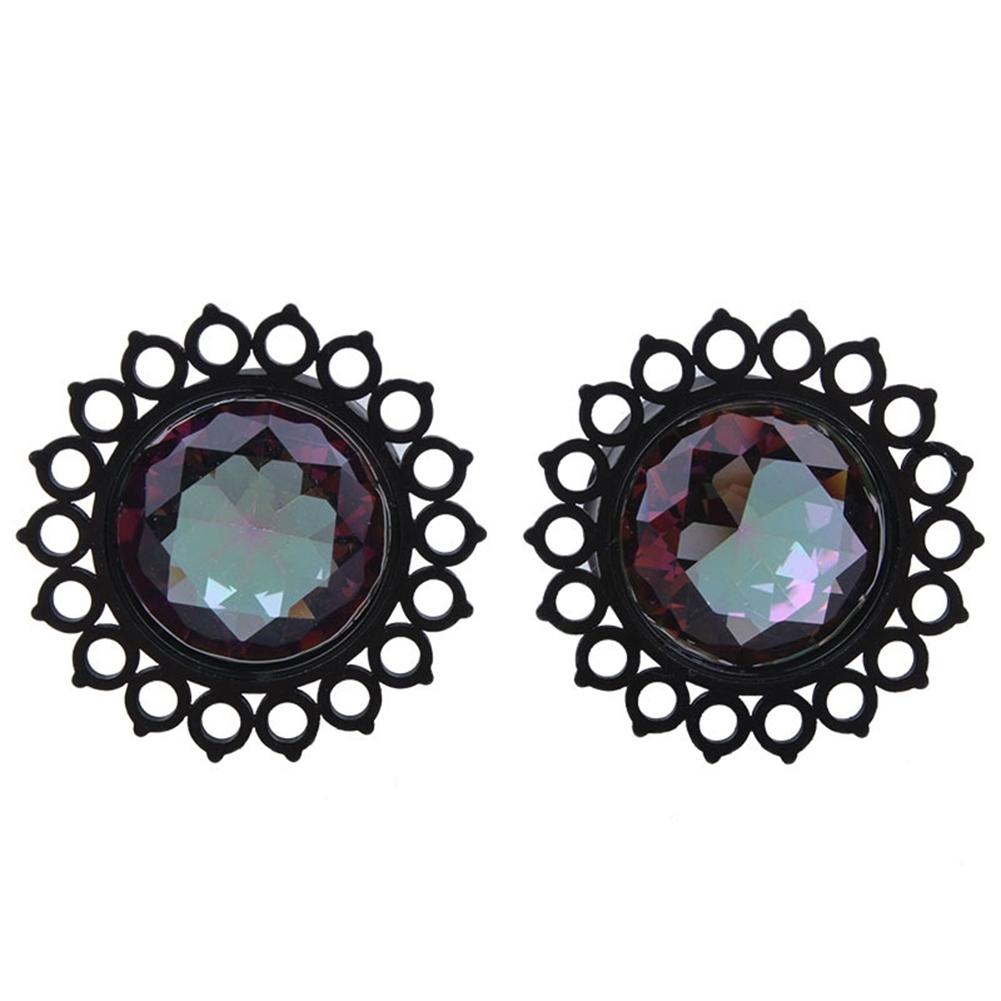 Vacuum plating black stainless steel jewel ear earrings puncture jewelry  BAQ0029 3