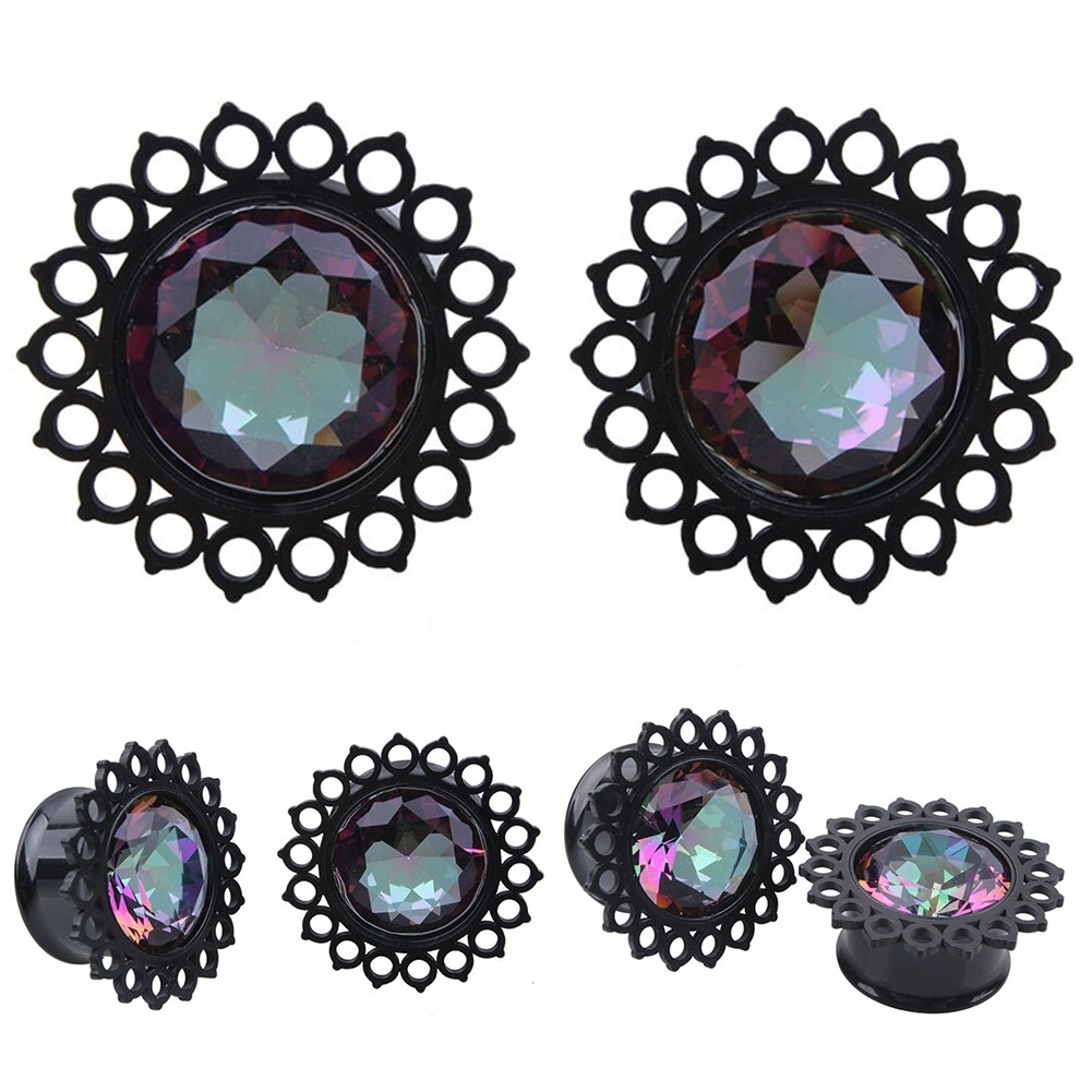 Vacuum plating black stainless steel jewel ear earrings puncture jewelry  BAQ0029 5