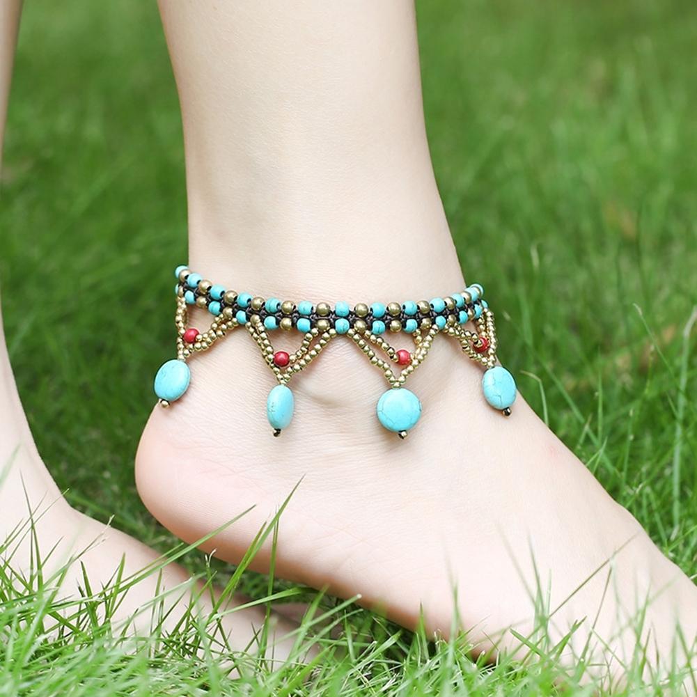Bohemia Two Piece Flower Charm Tassel Chain Turquoise Beads Beach Sandal Anklet BA0043 0
