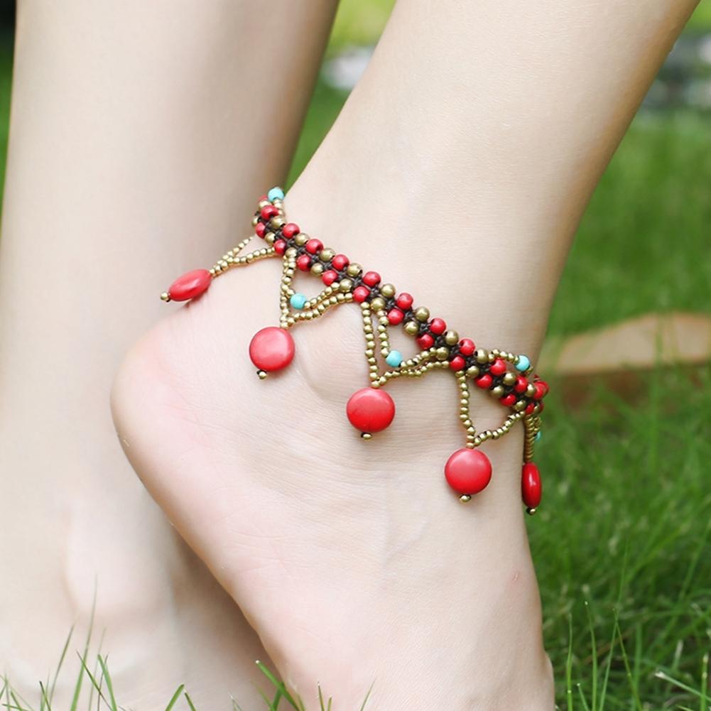 Bohemia Two Piece Flower Charm Tassel Chain Turquoise Beads Beach Sandal Anklet BA0043 3