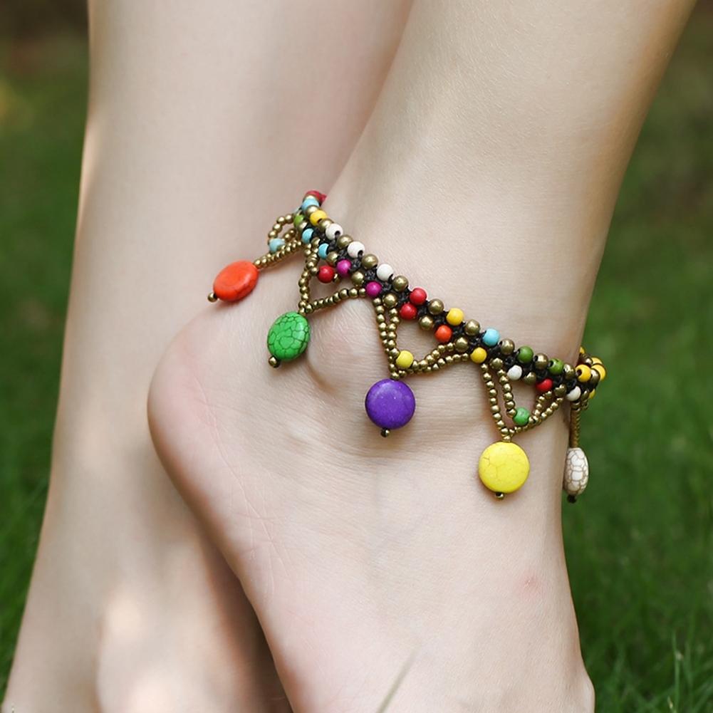Bohemia Two Piece Flower Charm Tassel Chain Turquoise Beads Beach Sandal Anklet BA0043 4