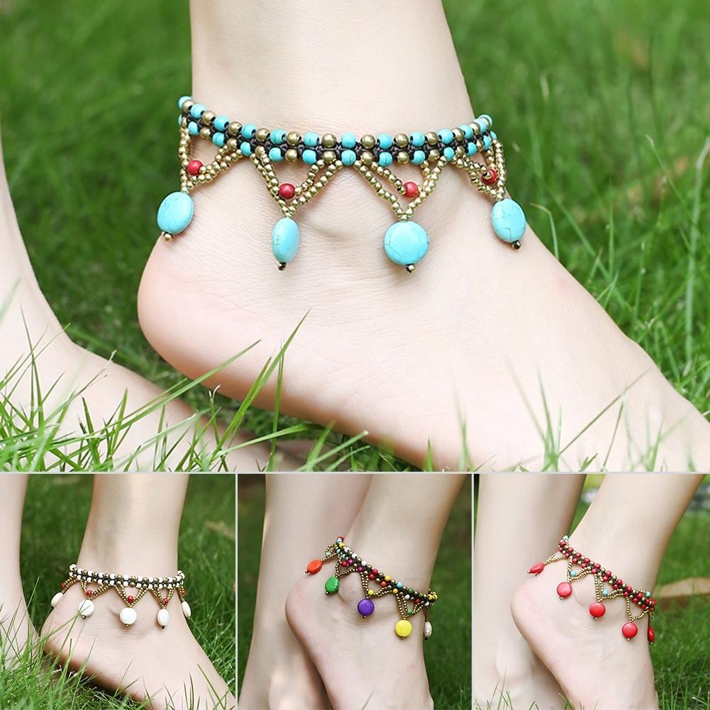 Bohemia Two Piece Flower Charm Tassel Chain Turquoise Beads Beach Sandal Anklet BA0043 5