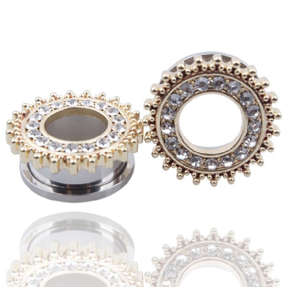1Pair Stainless Steel Screw Ear Plugs Tunnel Expander Stretcher Piercing Earring BAQ0005@ 3