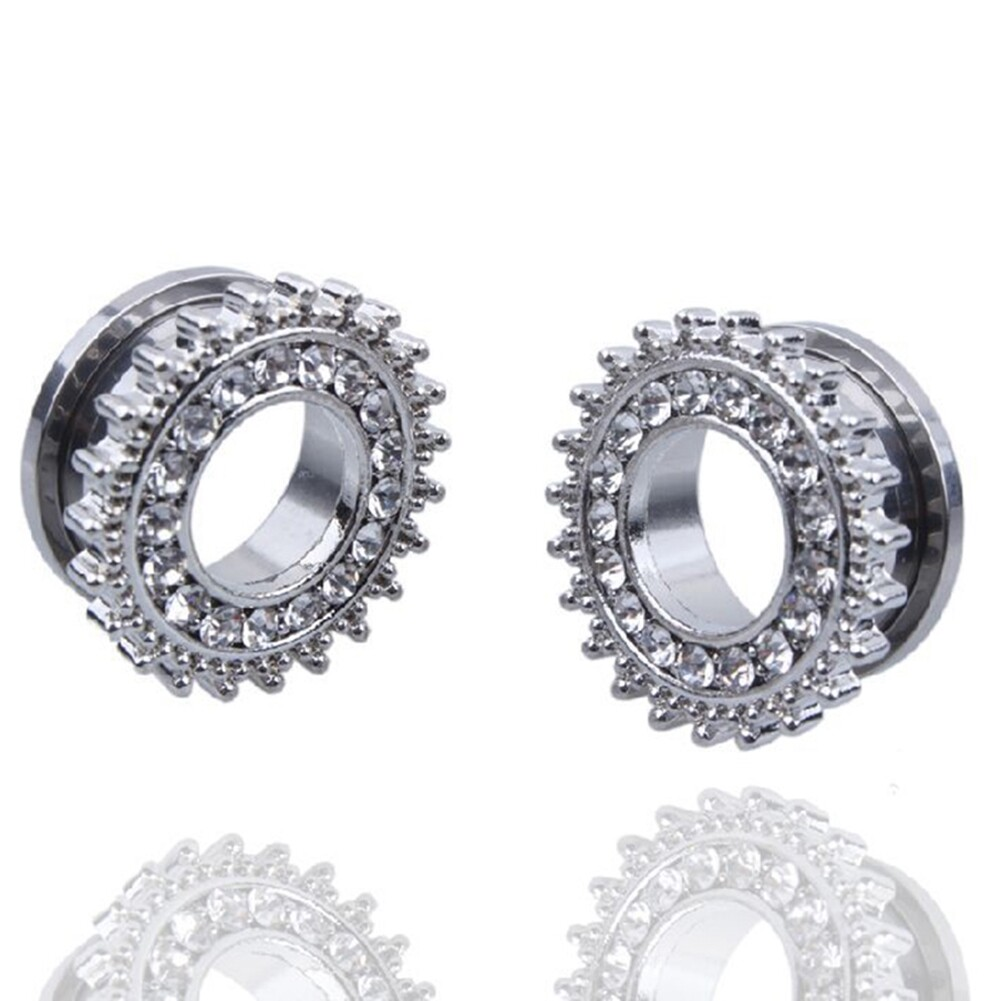1Pair Stainless Steel Screw Ear Plugs Tunnel Expander Stretcher Piercing Earring BAQ0005@ 12