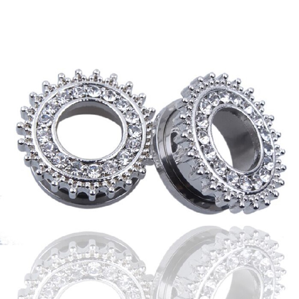 1Pair Stainless Steel Screw Ear Plugs Tunnel Expander Stretcher Piercing Earring BAQ0005@ 13