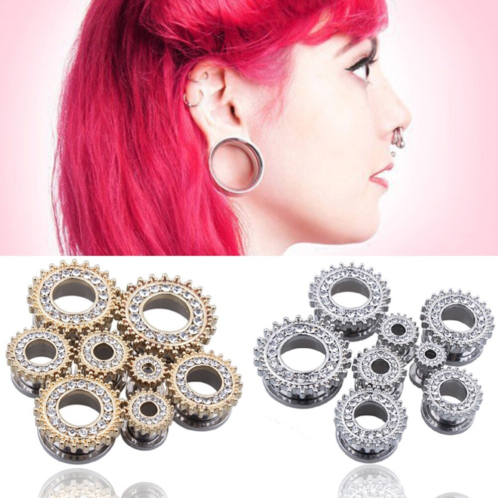1Pair Stainless Steel Screw Ear Plugs Tunnel Expander Stretcher Piercing Earring BAQ0005@ 0