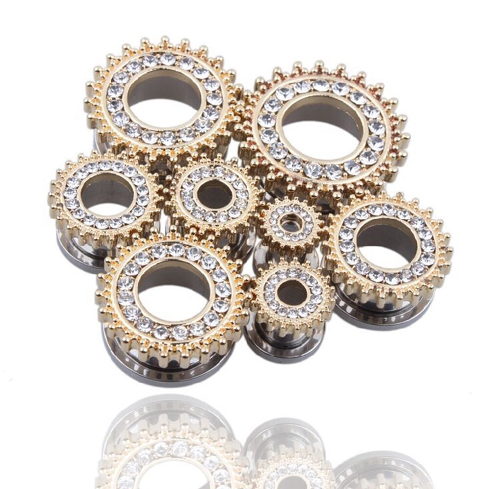 1Pair Stainless Steel Screw Ear Plugs Tunnel Expander Stretcher Piercing Earring BAQ0005@ 5