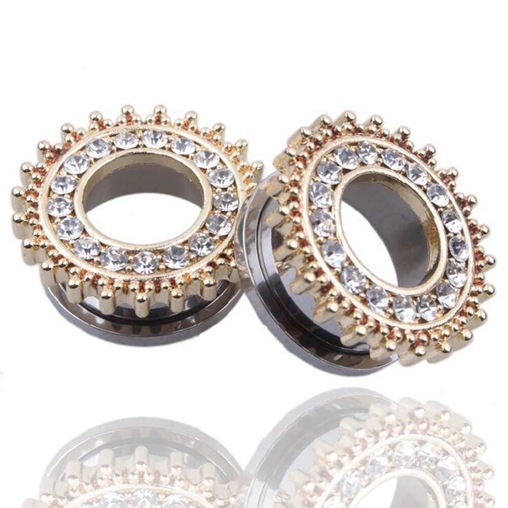 1Pair Stainless Steel Screw Ear Plugs Tunnel Expander Stretcher Piercing Earring BAQ0005@ 7