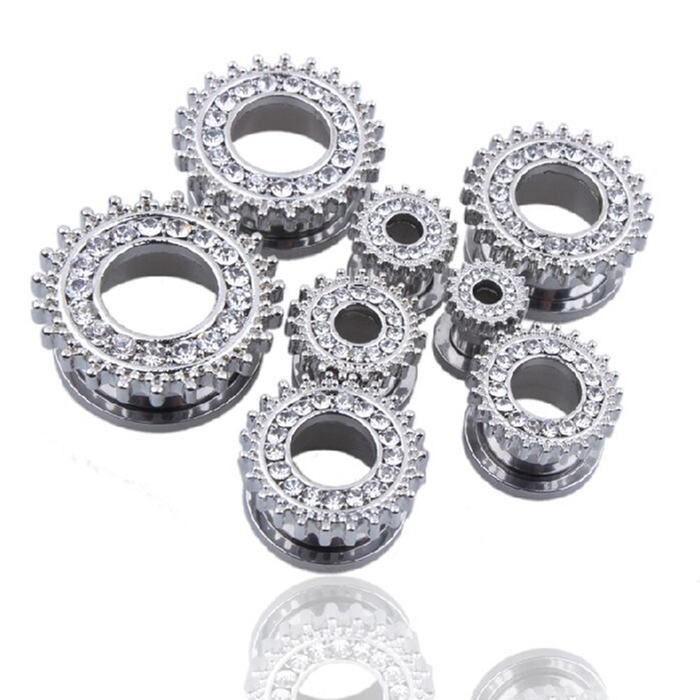 1Pair Stainless Steel Screw Ear Plugs Tunnel Expander Stretcher Piercing Earring BAQ0005@ 10