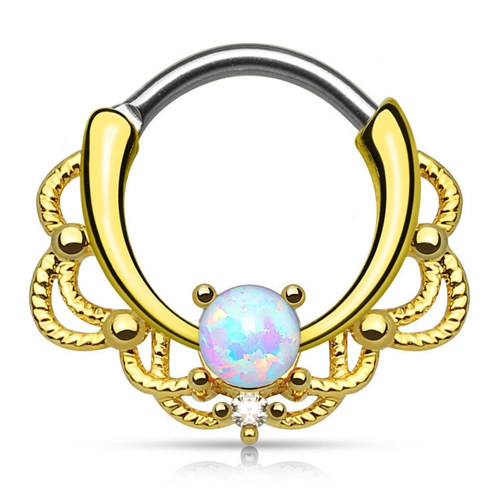Tragus Septum Hoop Steel Nipple Opal Lip Rings Bead Piercing Jewelry Ring Nose BAJ0053 2