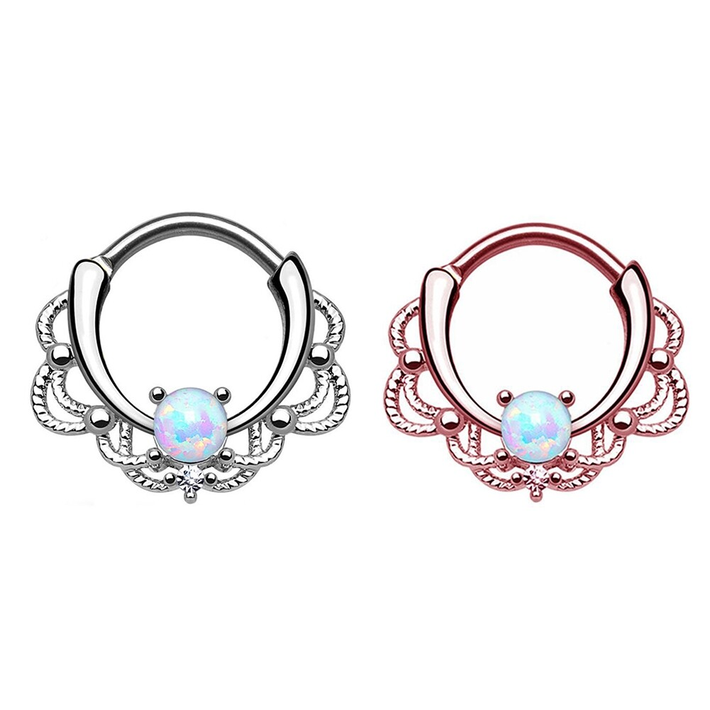 Tragus Septum Hoop Steel Nipple Opal Lip Rings Bead Piercing Jewelry Ring Nose BAJ0053 10