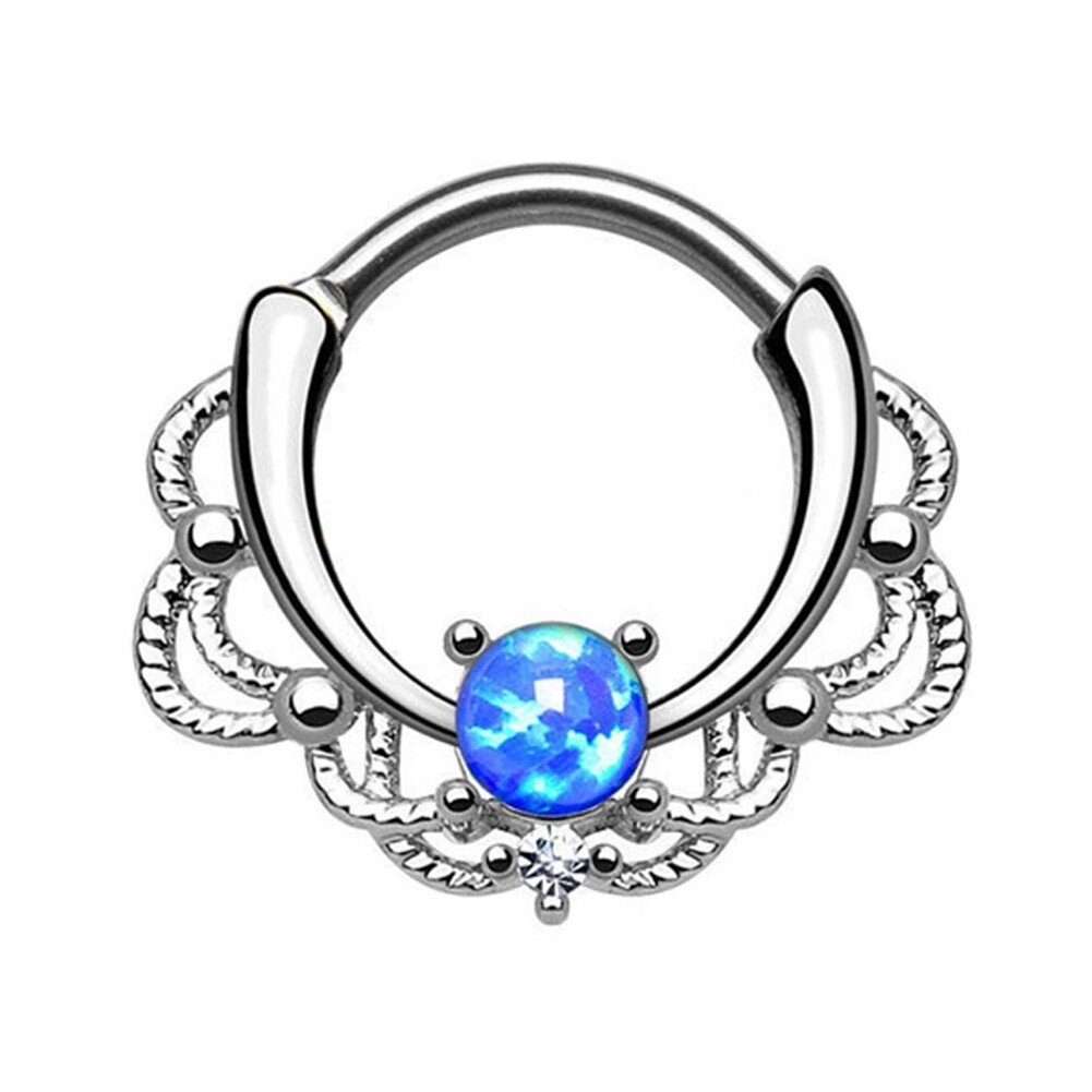 Tragus Septum Hoop Steel Nipple Opal Lip Rings Bead Piercing Jewelry Ring Nose BAJ0053 3