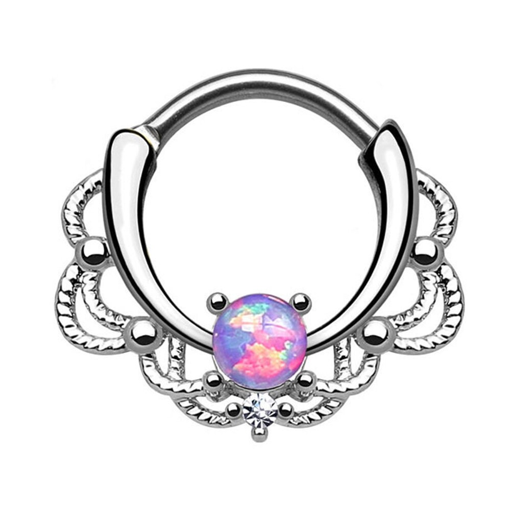 Tragus Septum Hoop Steel Nipple Opal Lip Rings Bead Piercing Jewelry Ring Nose BAJ0053 4