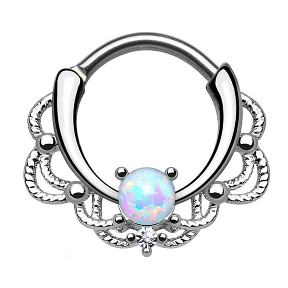 Tragus Septum Hoop Steel Nipple Opal Lip Rings Bead Piercing Jewelry Ring Nose BAJ0053 6
