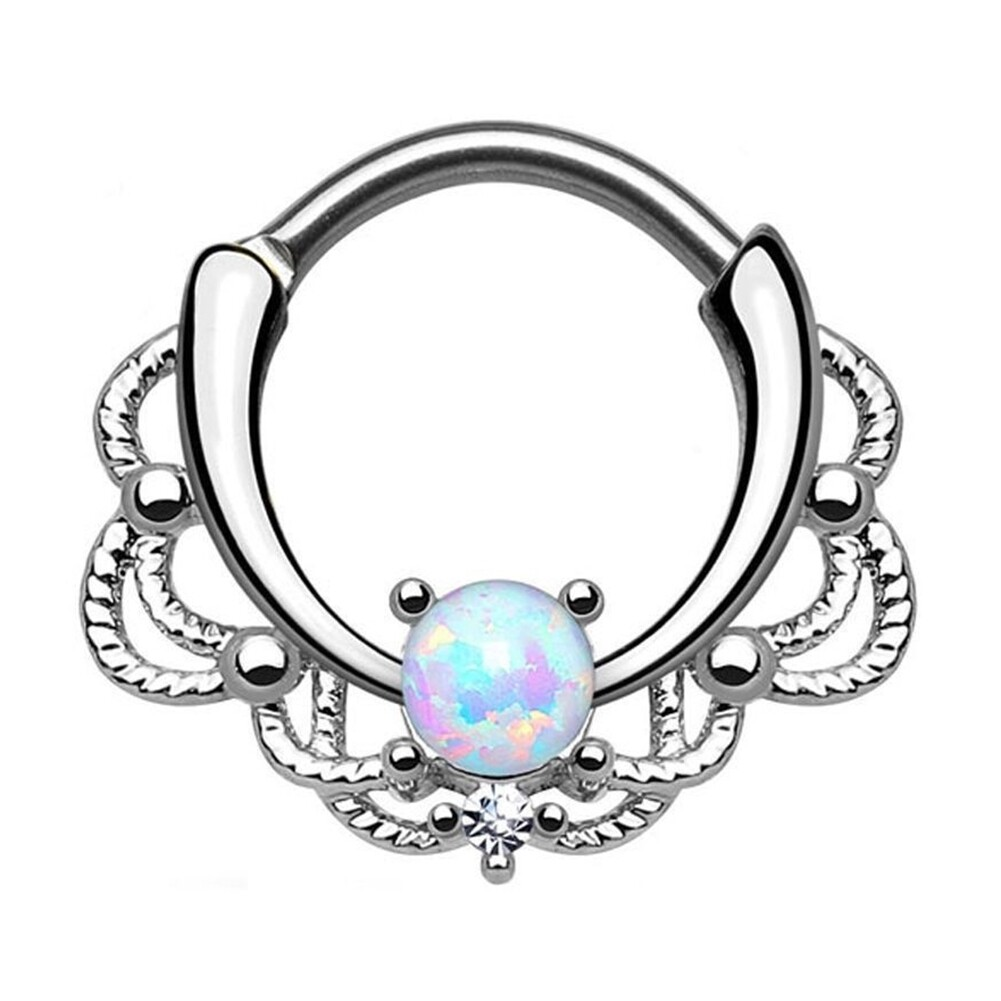 Tragus Septum Hoop Steel Nipple Opal Lip Rings Bead Piercing Jewelry Ring Nose BAJ0053 7
