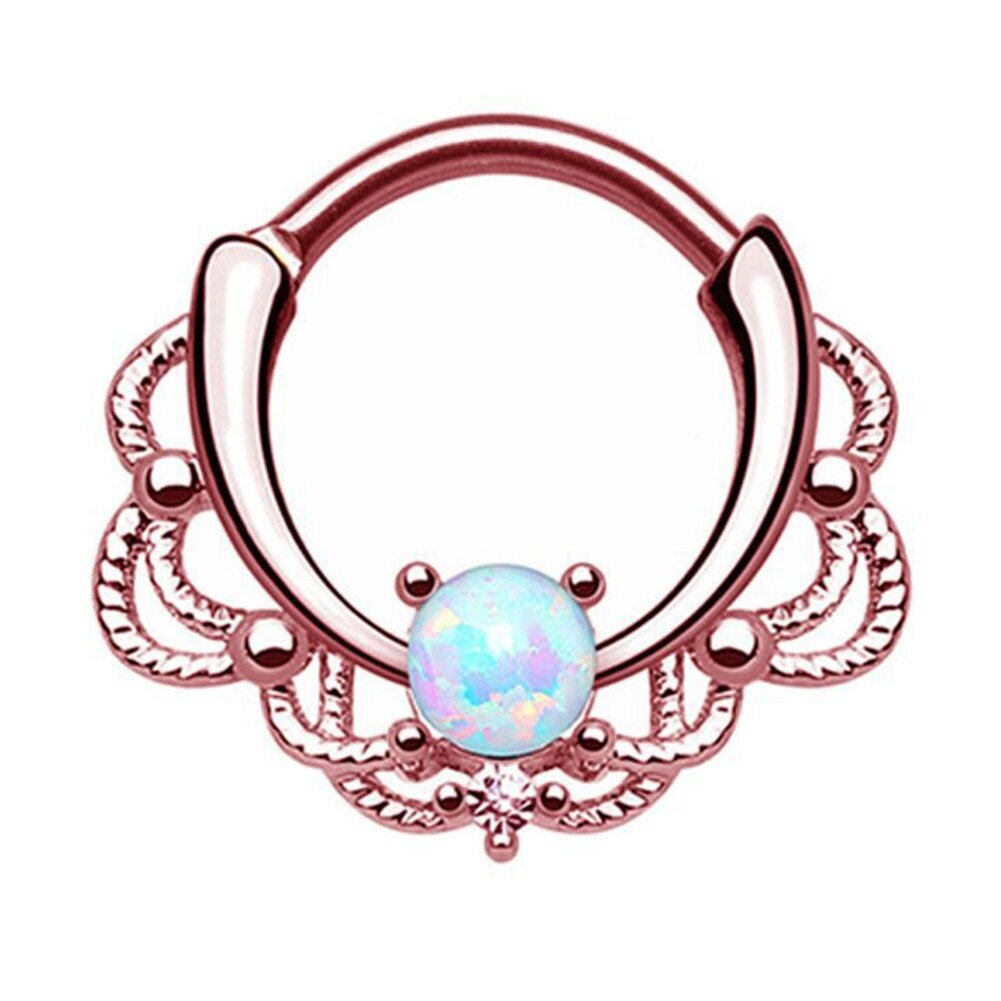 Tragus Septum Hoop Steel Nipple Opal Lip Rings Bead Piercing Jewelry Ring Nose BAJ0053 8