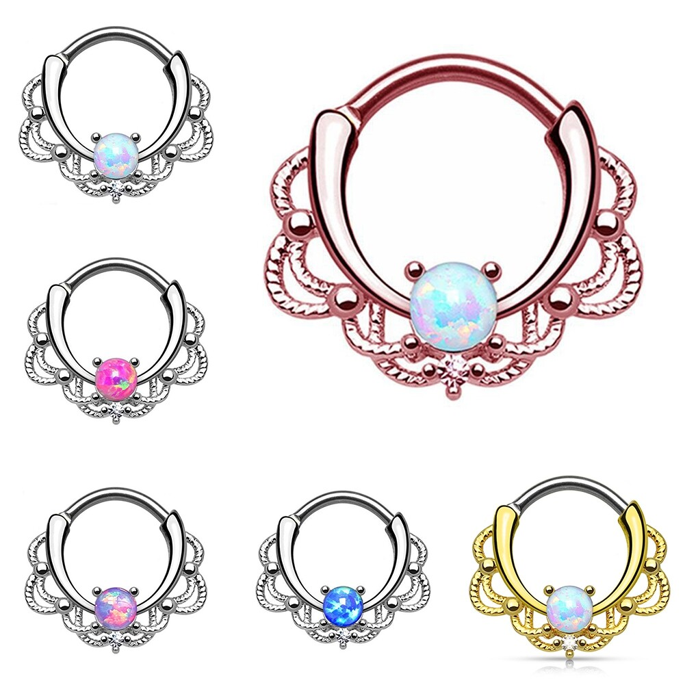 Tragus Septum Hoop Steel Nipple Opal Lip Rings Bead Piercing Jewelry Ring Nose BAJ0053 1