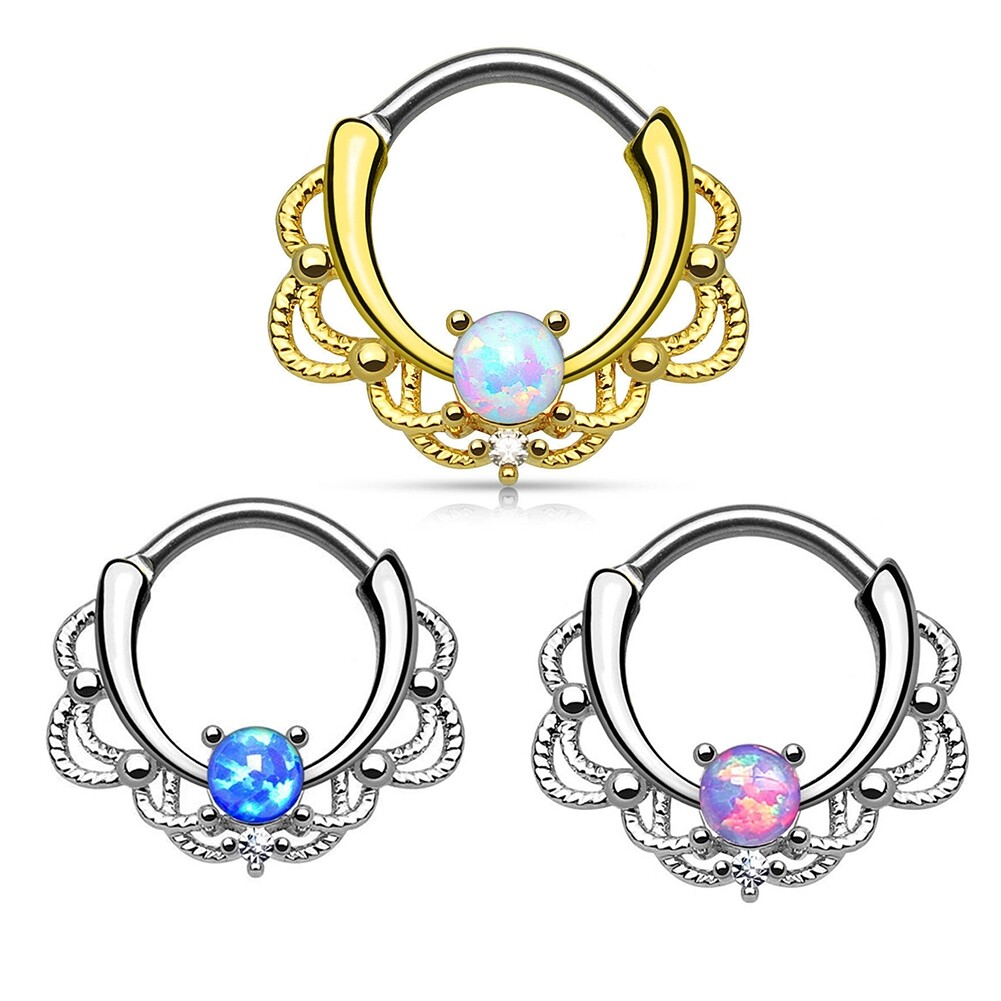 Tragus Septum Hoop Steel Nipple Opal Lip Rings Bead Piercing Jewelry Ring Nose BAJ0053 9