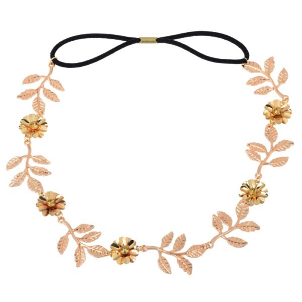 New Elegant Women's Gold Plated Carved Hollow Leaf Elastic Hair Band Headband JH06012 2