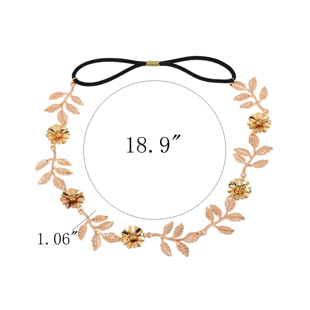 New Elegant Women's Gold Plated Carved Hollow Leaf Elastic Hair Band Headband JH06012 3