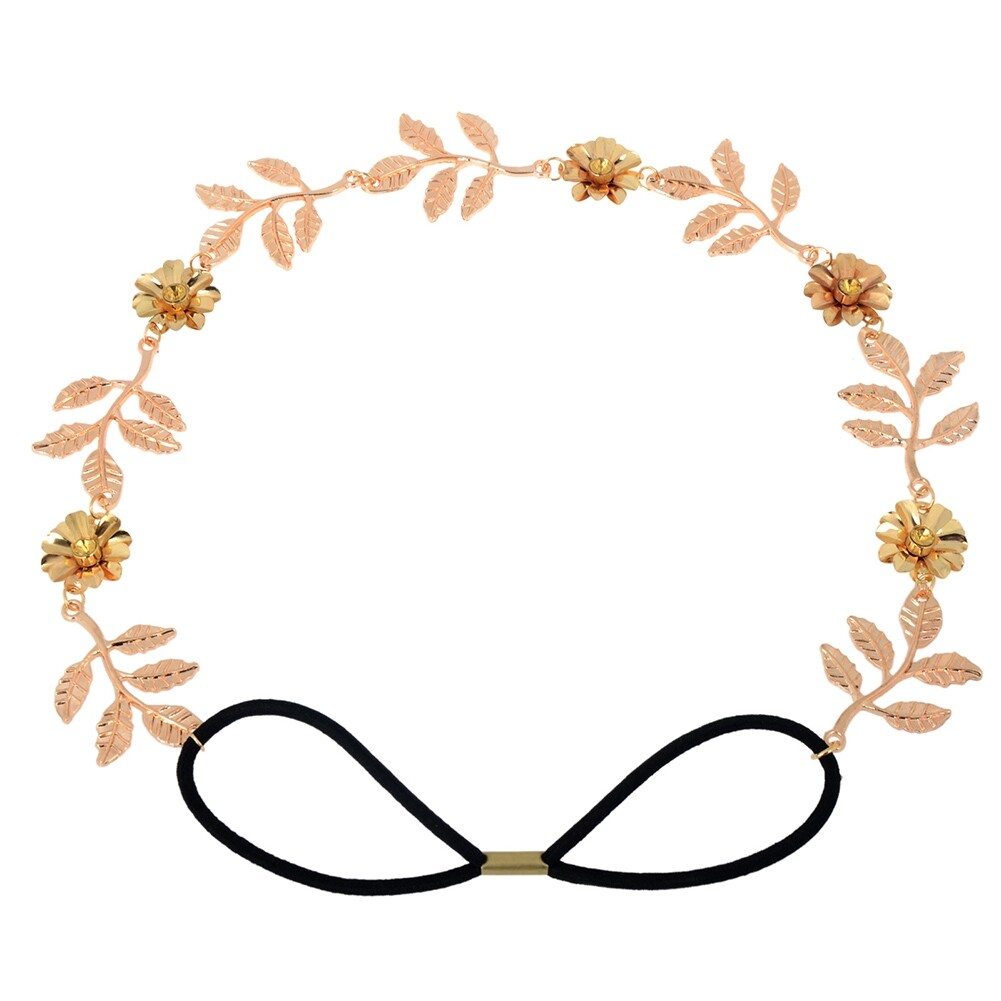 New Elegant Women's Gold Plated Carved Hollow Leaf Elastic Hair Band Headband JH06012 4