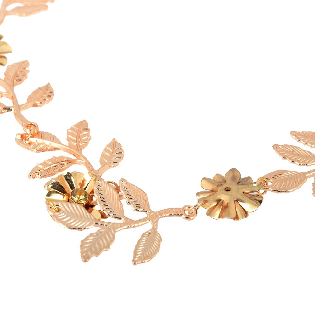 New Elegant Women's Gold Plated Carved Hollow Leaf Elastic Hair Band Headband JH06012 5