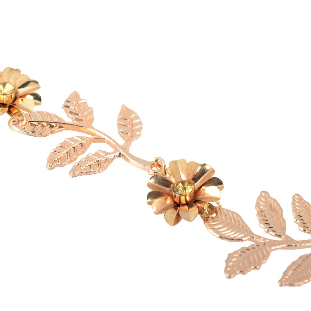 New Elegant Women's Gold Plated Carved Hollow Leaf Elastic Hair Band Headband JH06012 6