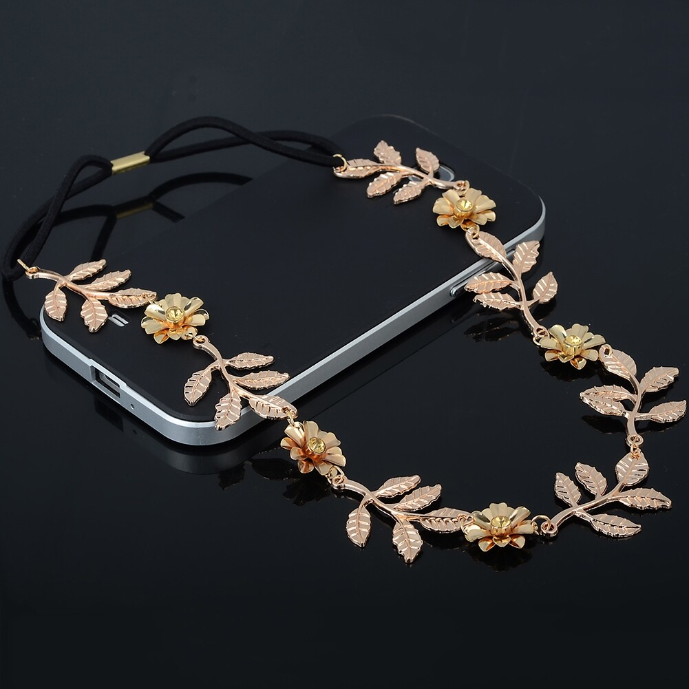 New Elegant Women's Gold Plated Carved Hollow Leaf Elastic Hair Band Headband JH06012 7