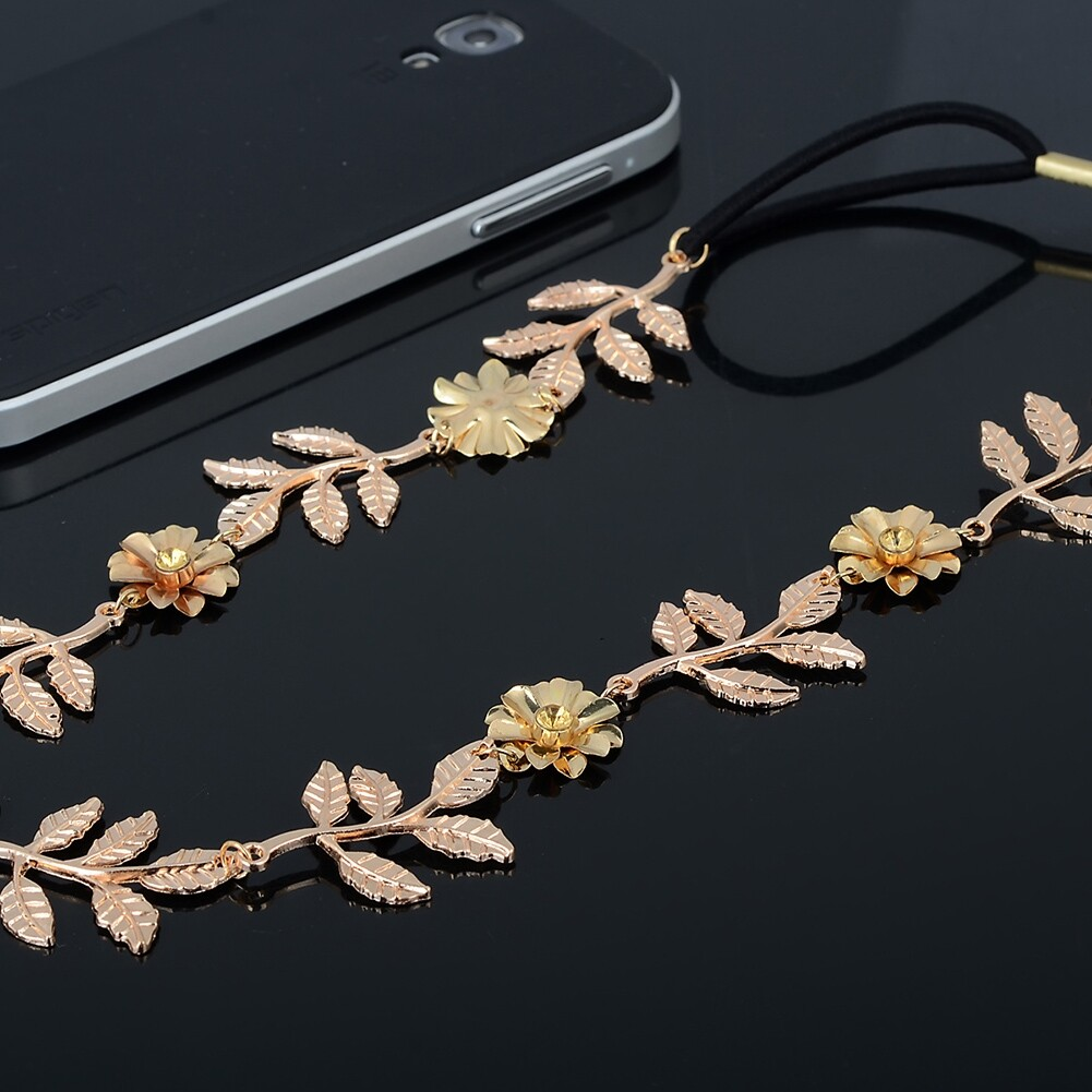 New Elegant Women's Gold Plated Carved Hollow Leaf Elastic Hair Band Headband JH06012 8