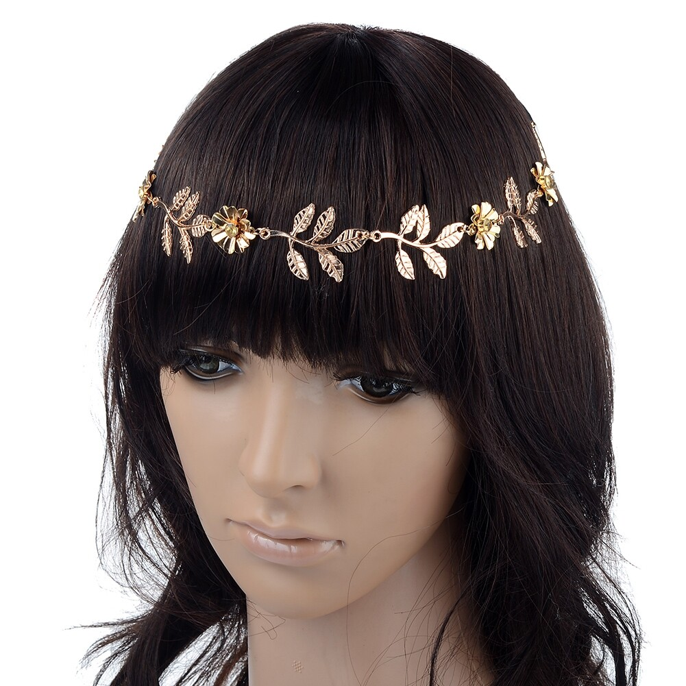 New Elegant Women's Gold Plated Carved Hollow Leaf Elastic Hair Band Headband JH06012 0