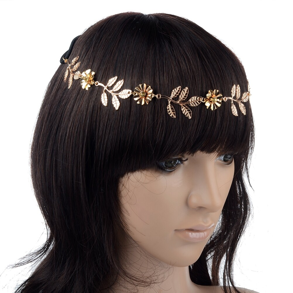 New Elegant Women's Gold Plated Carved Hollow Leaf Elastic Hair Band Headband JH06012 1