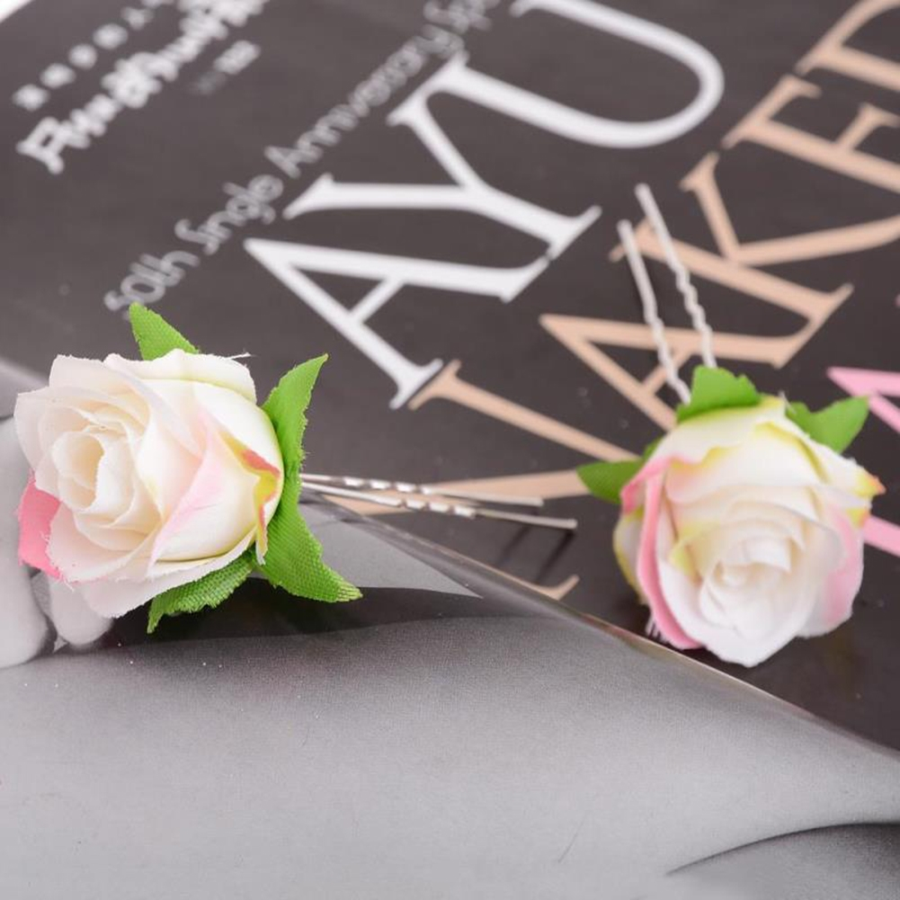 Small Rose Flower Hair Pins Wedding Bridal Flowers Accessory Bridesmaids GE05030@ 5