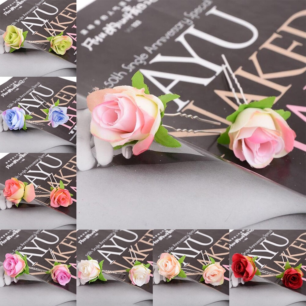 Small Rose Flower Hair Pins Wedding Bridal Flowers Accessory Bridesmaids GE05030@ 4