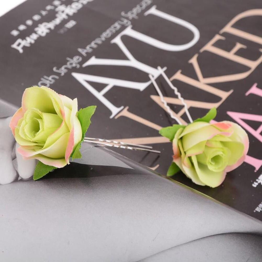 Small Rose Flower Hair Pins Wedding Bridal Flowers Accessory Bridesmaids GE05030@ 12