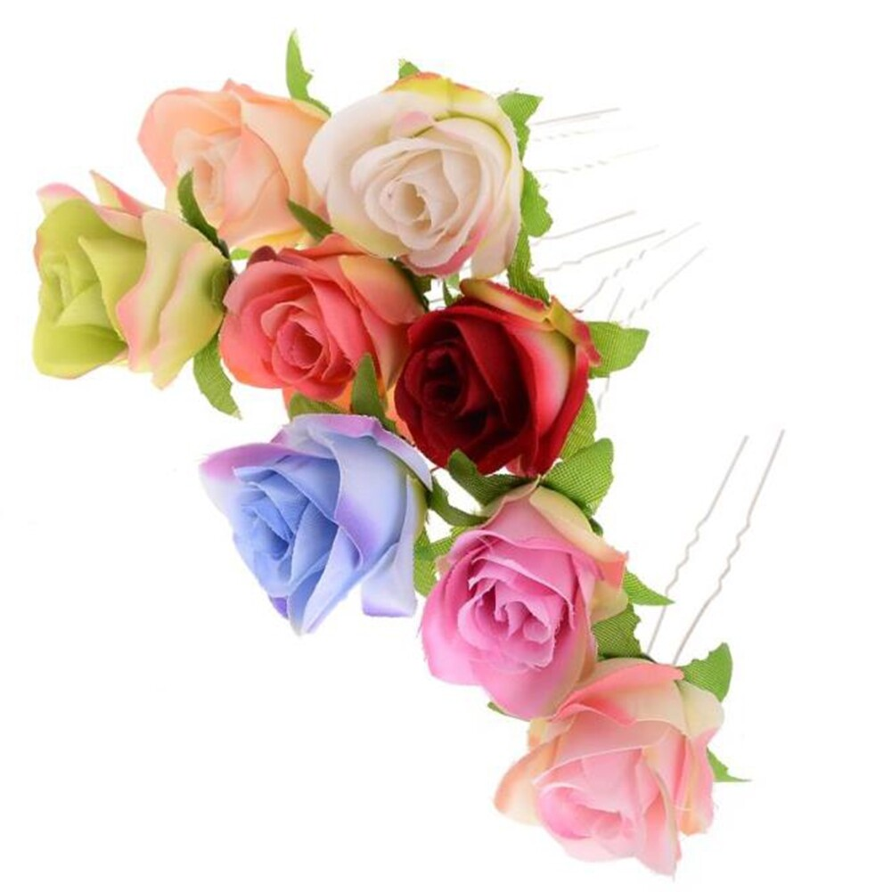 Small Rose Flower Hair Pins Wedding Bridal Flowers Accessory Bridesmaids GE05030@ 1