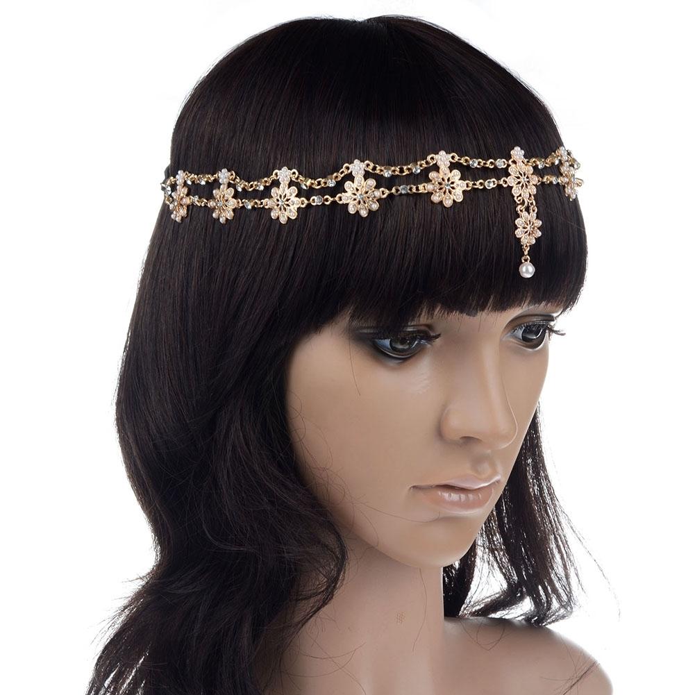 Women Fashion Metal Rhinestone Head Chain Jewelry Headband JH04035 7