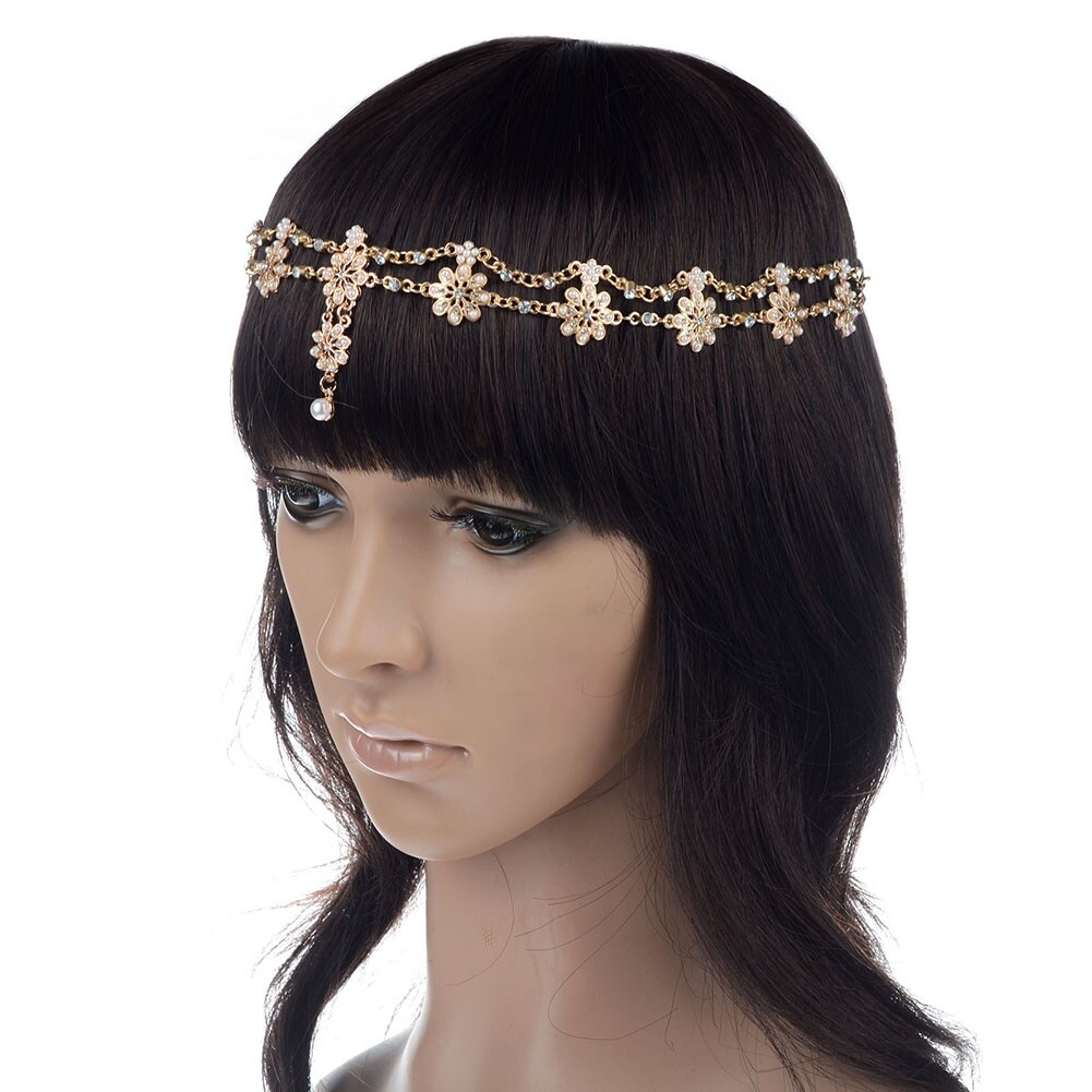Women Fashion Metal Rhinestone Head Chain Jewelry Headband JH04035 2