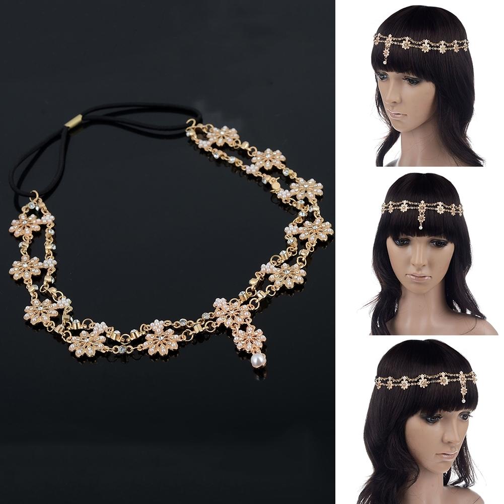 Women Fashion Metal Rhinestone Head Chain Jewelry Headband JH04035 1